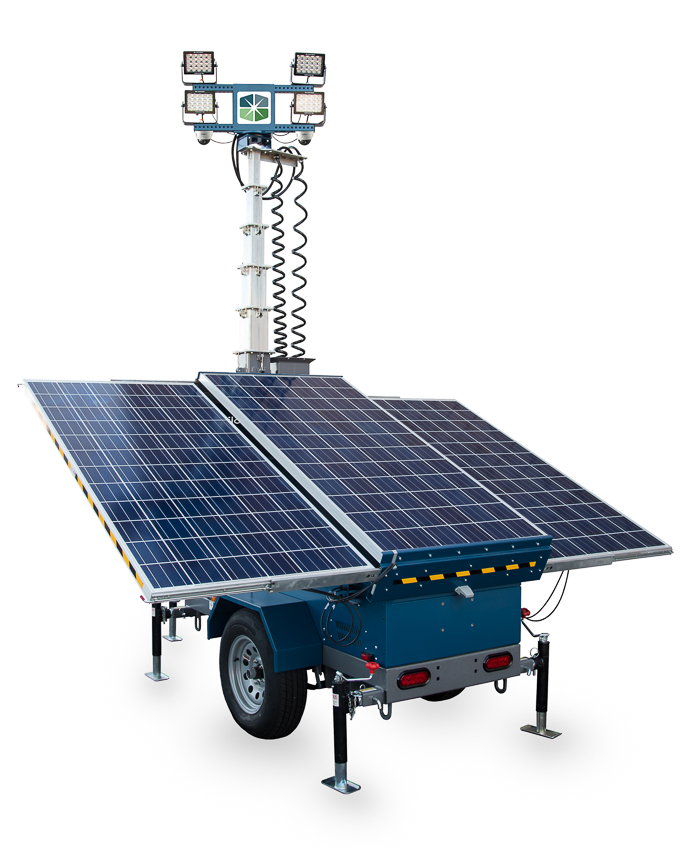 Solar light tower for construction sites