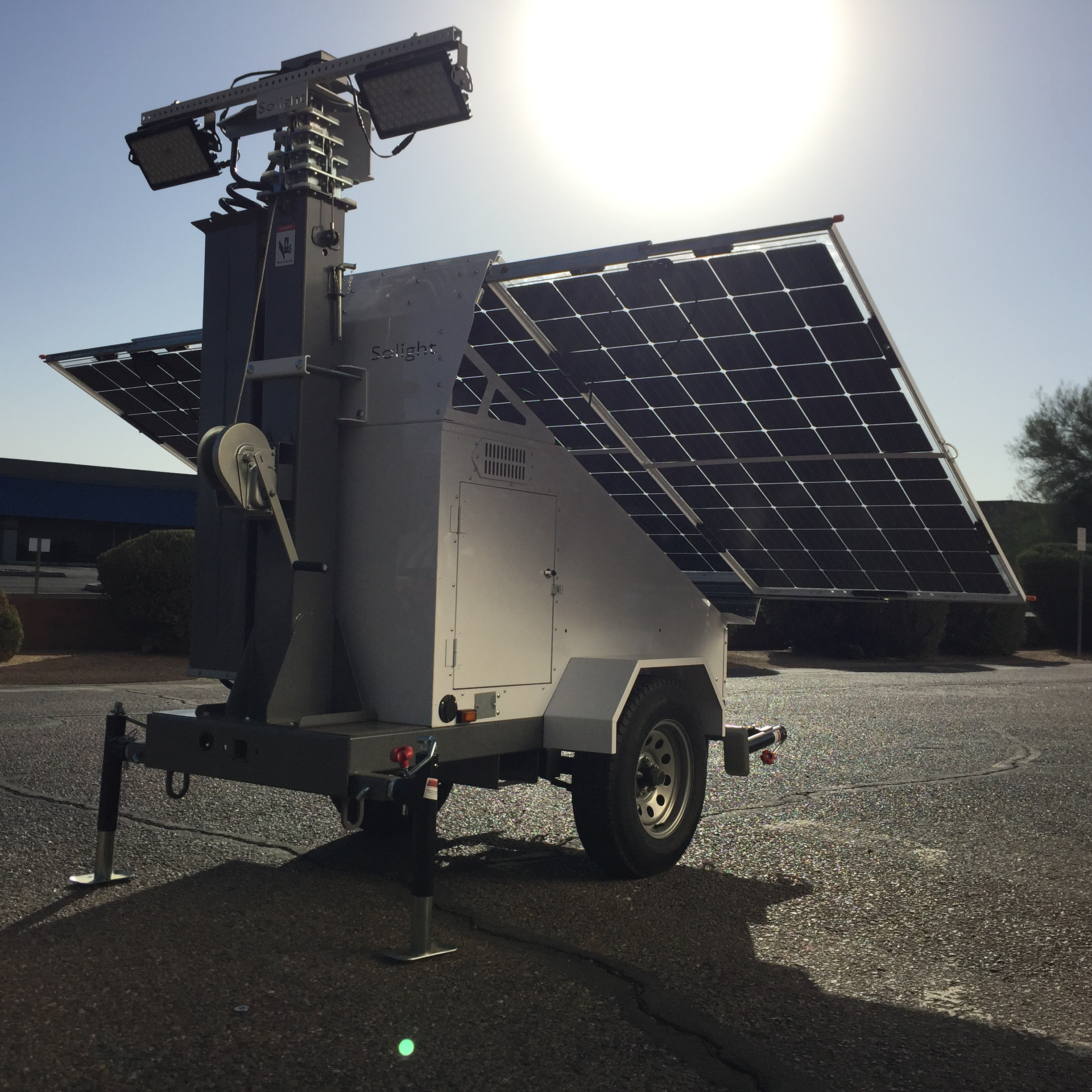 Solar light tower for border security